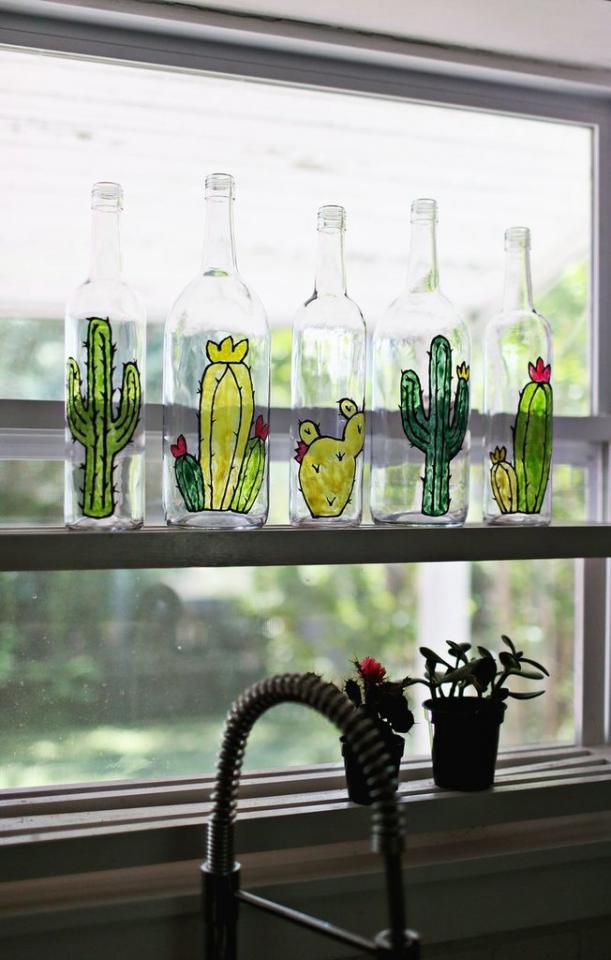 Stained Glass Let the light shine through clear glass bottles by embarking upon a DIY stained glass project. A Beautiful Mess shows how to get started.