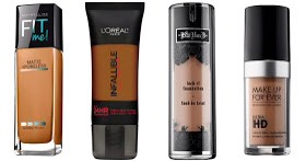 """""""OILY""""  ContinuedTrylightweight medium coverage-heavier formulasclogpores,causingmore oil production.Also, try settingyour foundation with a powder to further reduce shine.  PICTURED 📷  MaybellineFitMe,$8 L'OrealInfallible Pro Matte,$13 KatVonDLockIt-$35 MakeupForeverHD,$43"""