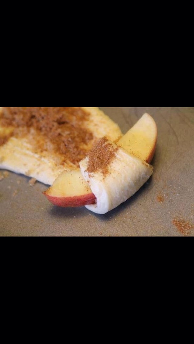 Apple pie bites:  1 tube Crescent rolls  1 slice apple per triangle  Sprinkle with cinnamon and sugar Roll up and bale for 11-13 minutes at 350 degrees.  Hope you enjoy! Please don't forget to like. Thanks!!!