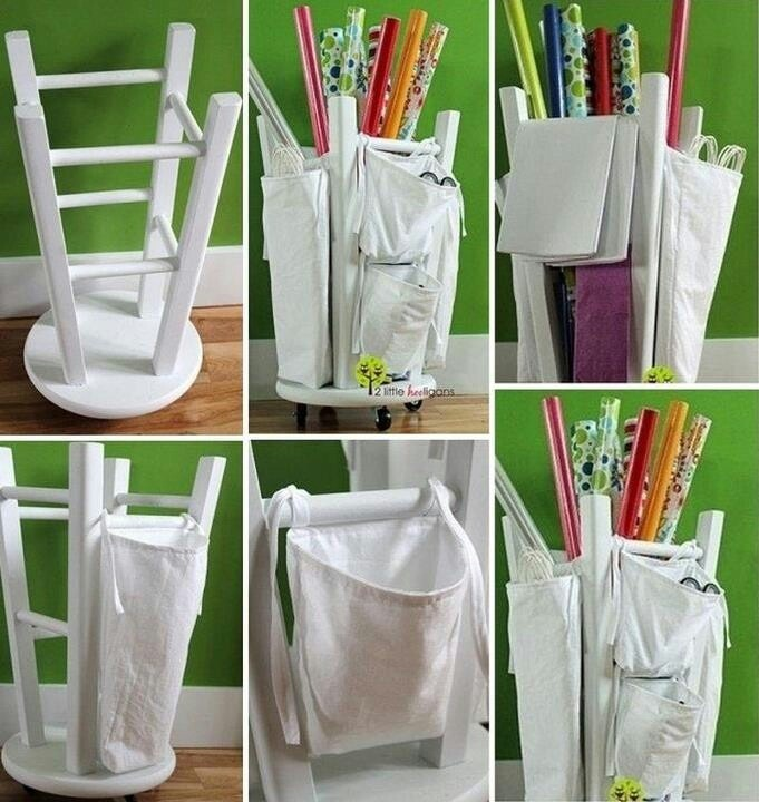 Very easy and practical place to store wrapping paper, tape, scissors and anything else!
