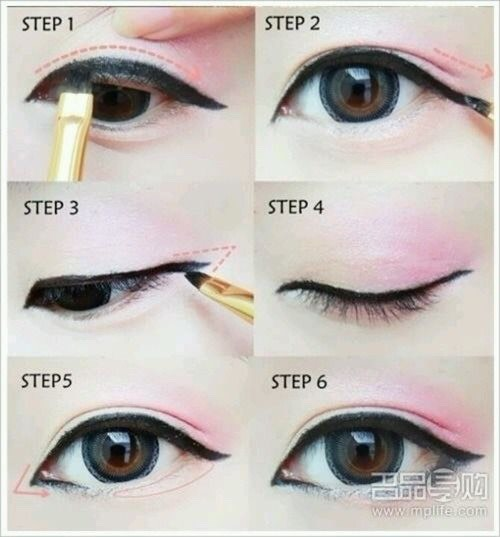 How to draw your eyeliner lines by the shape of your face step by step