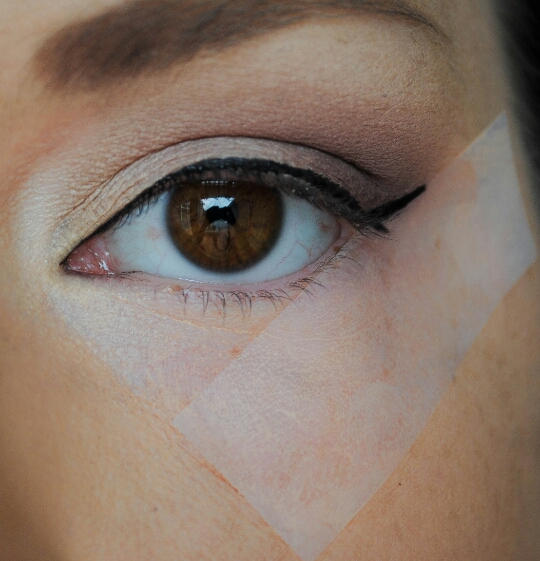 Use tape to align you wings, cat eyes ect; to make them perfect! First place the tape on your hand then place it near you're eye, so when you take the tape off of your face, it won't mess up another makeup, and will not be as Harsh!