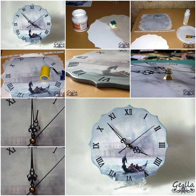 Beautiful clock idea~ transfer a picture to wood