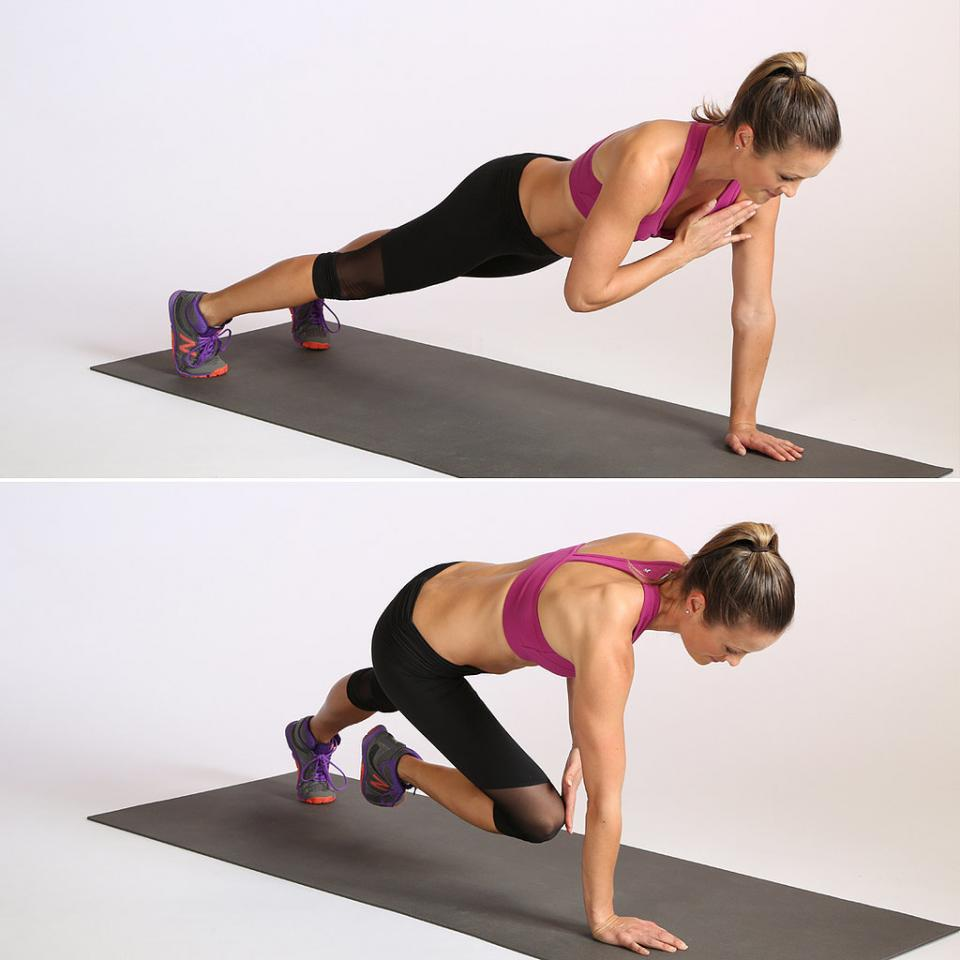 Circuit Three: Plank With Alternating Shoulder and Knee Tap: This competes one rep. Do 10 reps total.