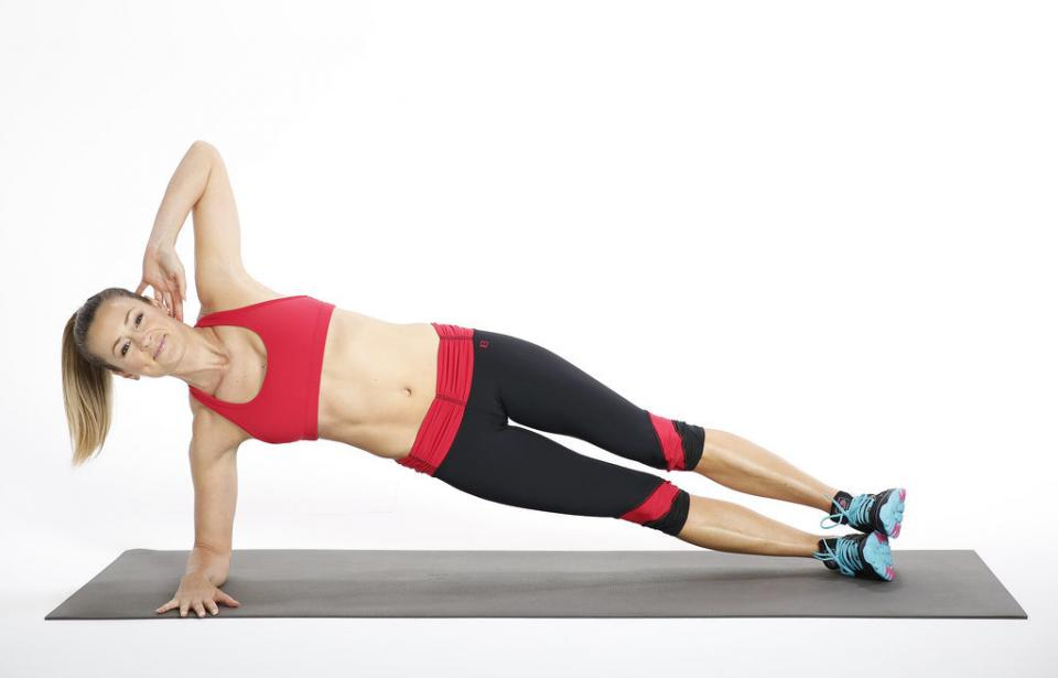 Circuit Three: Side Elbow Plank  Reps: Hold for 30 seconds, working up to 60 seconds