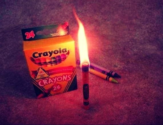 In an emergency, crayons burn like candles for 30 minutes.