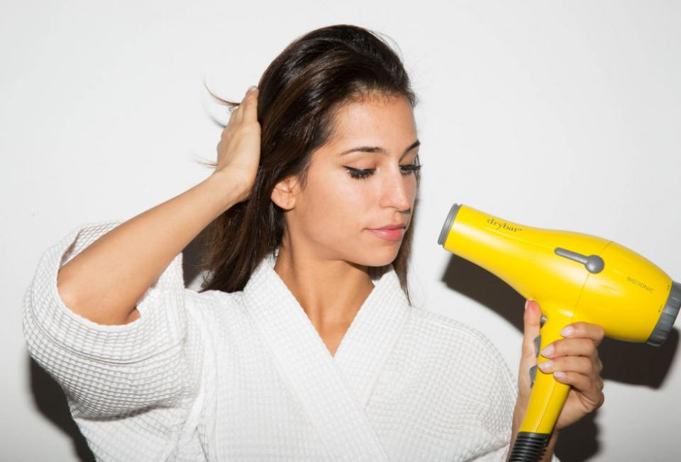 3. If you're too impatient to wait for your moisturizer, toner, and self-tanner to dry, or for your makeup to set, then blast your skin with a blow-dryer on the cool setting.
