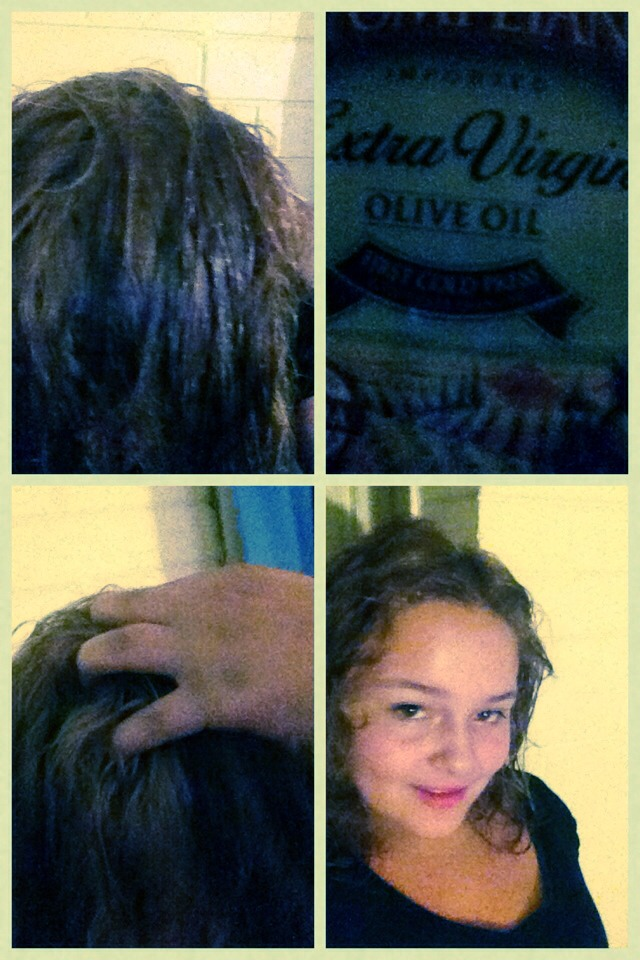 Warm olive oil for30 sec then rub scalp and let set for 4-5 min then rinse