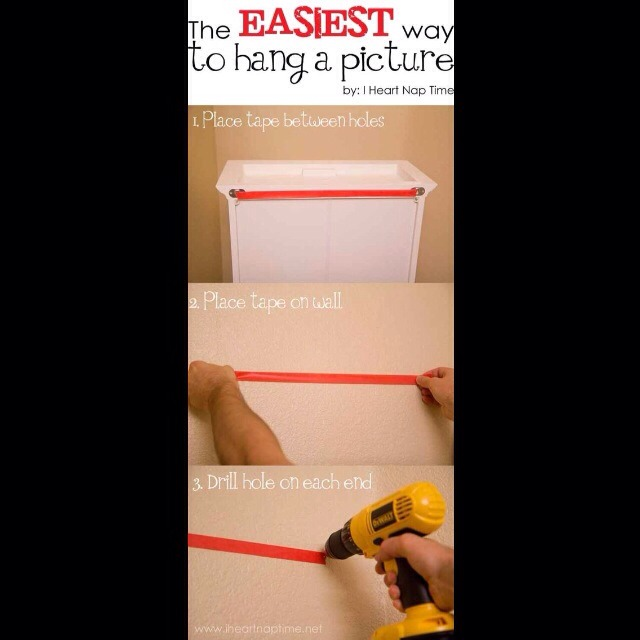 27. If you're hanging something heavy on your walls, use tape to measure the distance between two holes.