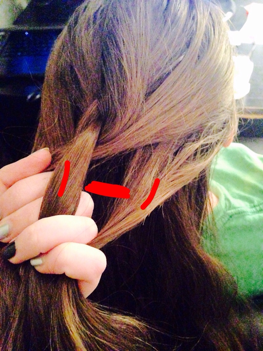 Same thing on the other side! Take a piece from around the front over her hair and pull it back into section (#1) And make sure you pull it pretty tight. Just so no loose hairs get mixed up in your braid! Next page---👉