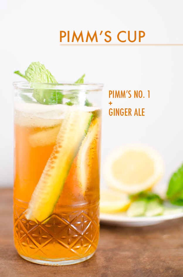 Muddle a cucumber slice, lemon slice, and a sprig of fresh mint in the bottom of your glass. Add a shot or two of Pimm's and top with ginger ale.