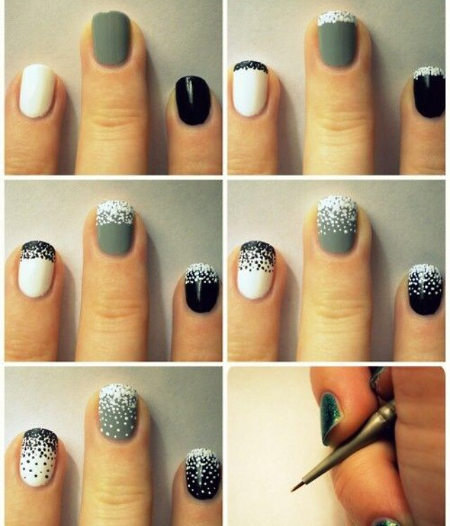 These snowy nails are another design that looks complicated and beautiful, but it's actually really easy. Paint your nails the desired colors and after they've dried take a toothpick or dotting tool and use white polish to create a snowy look. Follow the dot patterns pictured