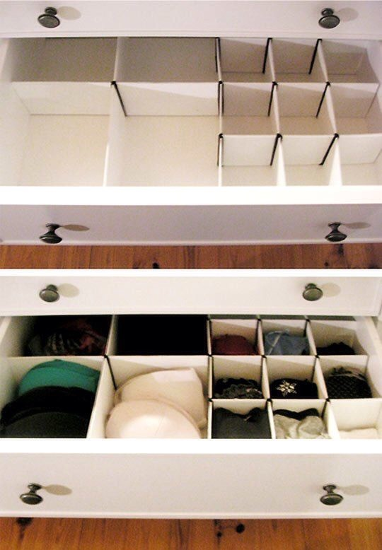 #1 – DIY underwear organizer for your drawer Drawers are one of the most effective places to store your girly things. Creating your own dividers can be a fun and rewarding DIY weekend project. All you need is cardboard, a ruler and a cutting knife or a small saw. T
