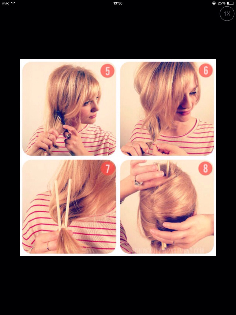 Gather all hair on chosen side and tie into a low loose pony tail (the chopsticks are optional)