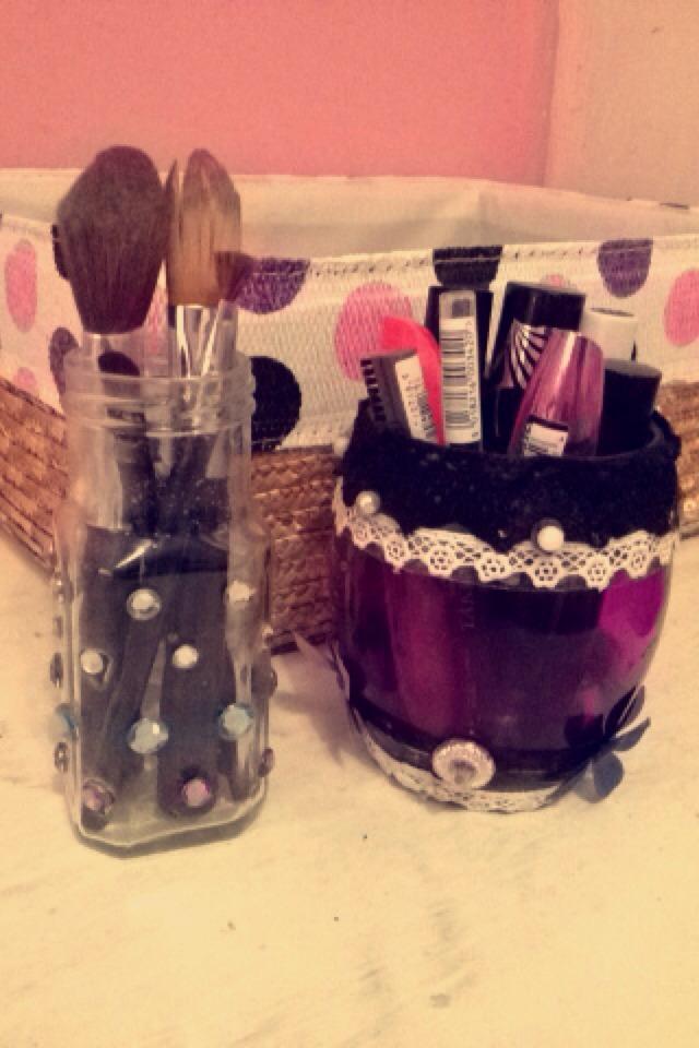 Homemade makeup holders 💜