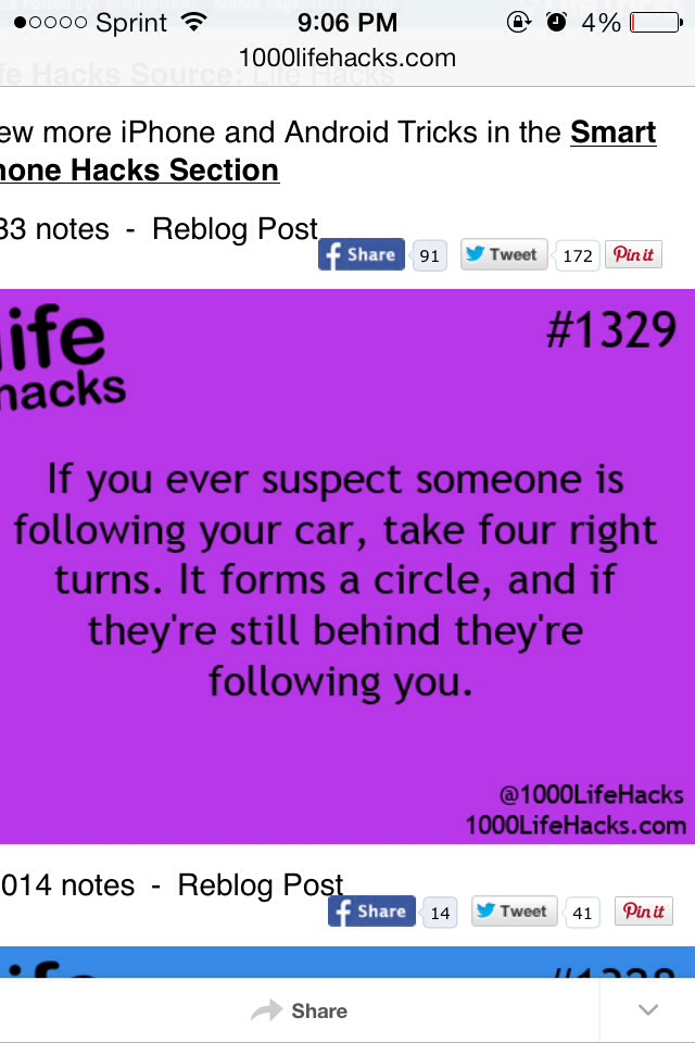 Take 4 right turns to see if someone is following you