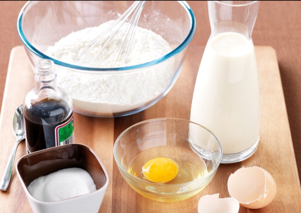 Batter: Flour Milk Egg  And any toppings