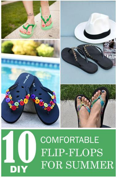 10 DIY flip flop ideas and how to make your very own flip flops with some added materials.