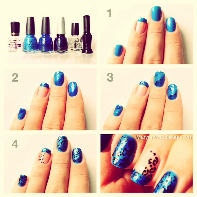 "How to make "" Blue Leopard Nail Art """