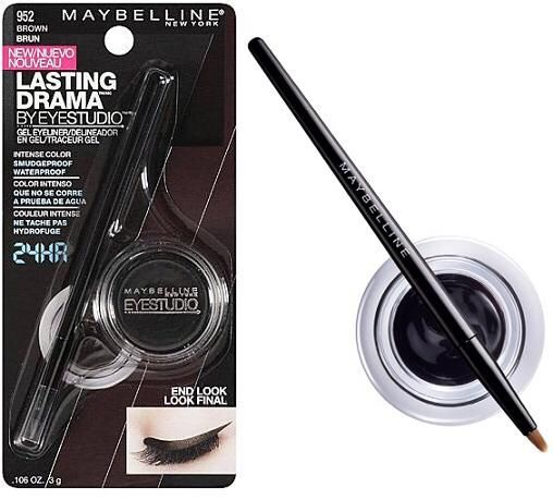 12) Maybelline Eyestudio Gel Eyeliner This gel liner is sooo black & works just as well as any high end gel liner. Extra tip: if yours starts to dry up, add some type of oil to it. I used moroccan oil and it works just as well as before!