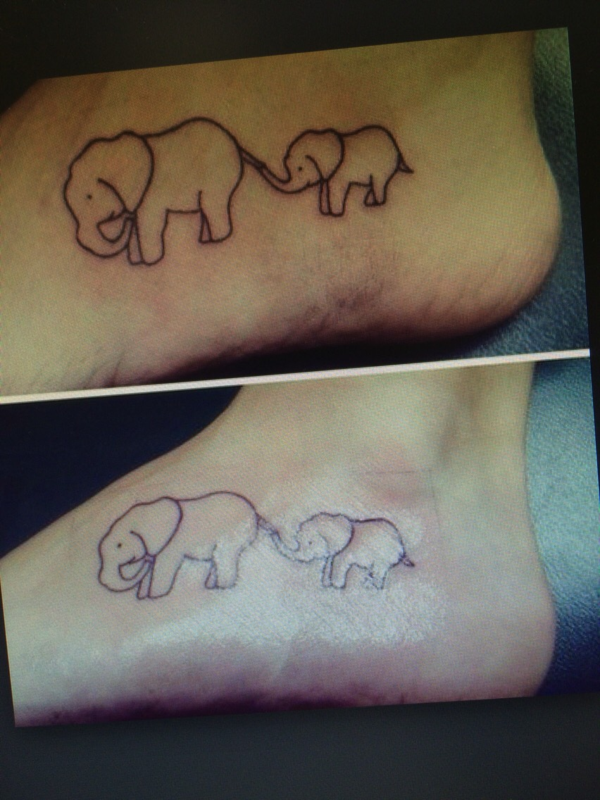 Another cute tattoo idea to get with a special person in your life or just for yourself if you prefer. 🐘