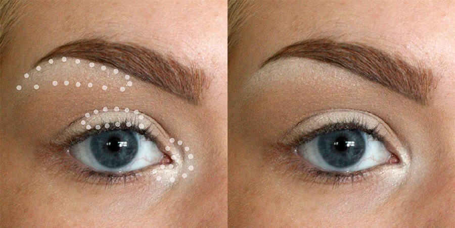Use highlighter  Apply highlighter To The inner corner Of Your eye And the center of your eyelid To appear more awake, then add some just beneath your eyebrow To create an instant lift.