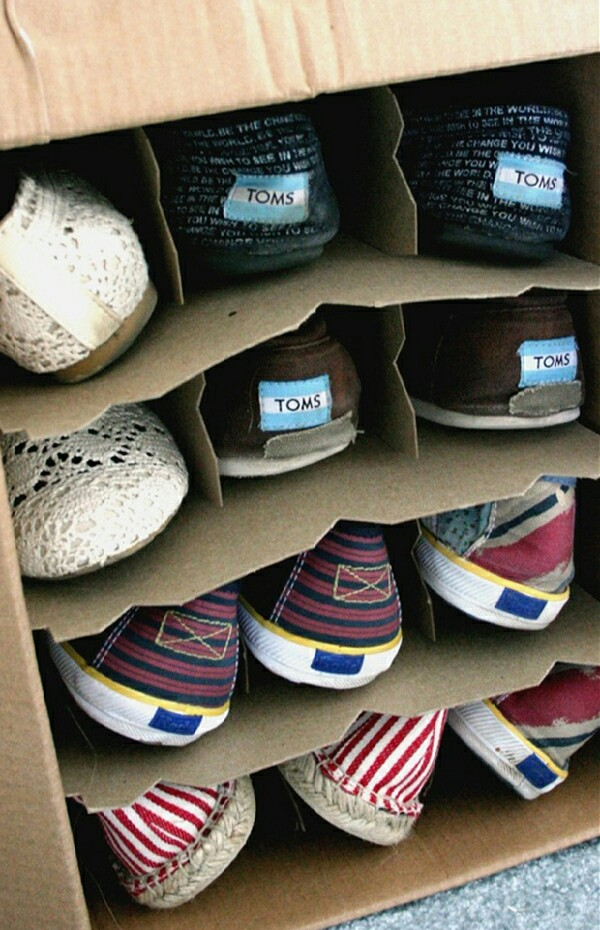 Save wine boxes for a great place to store shoes.