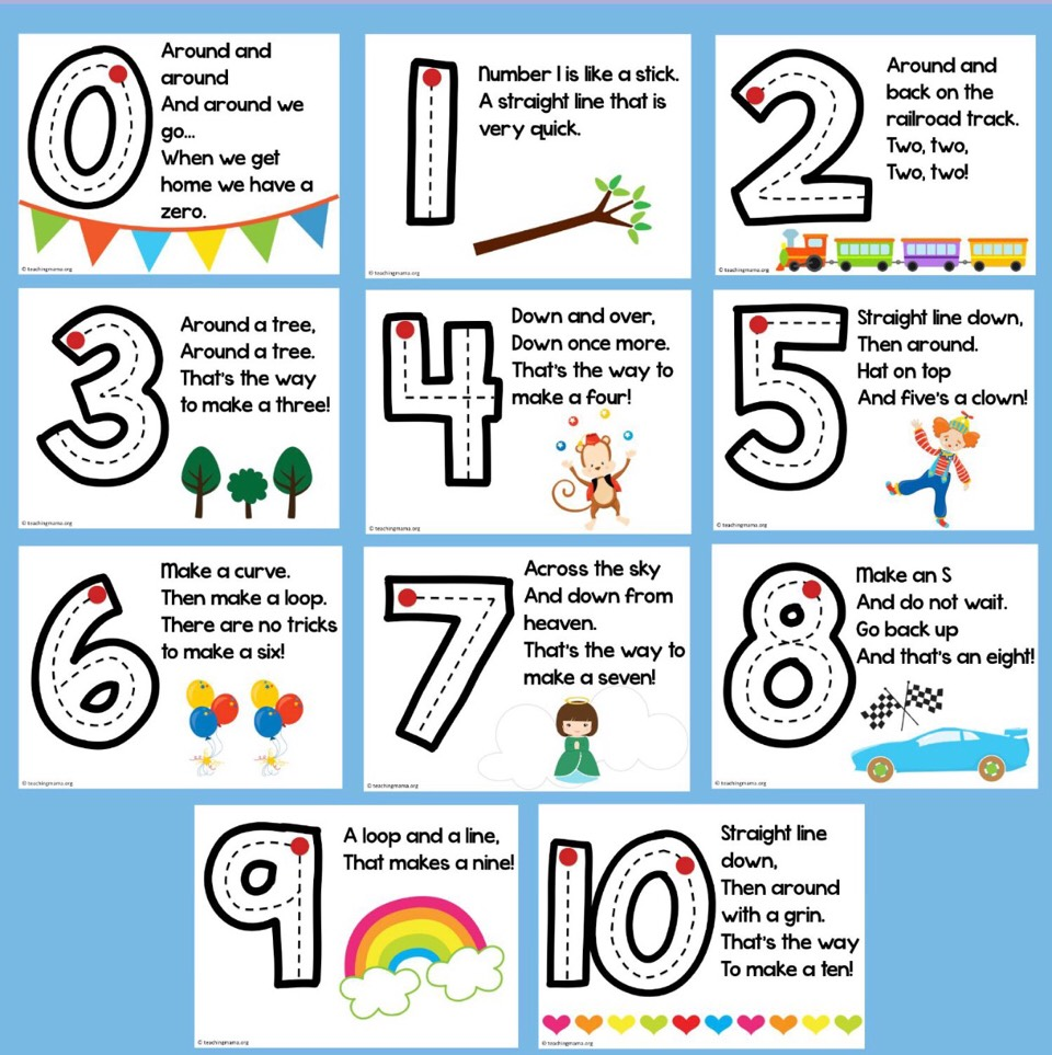 These  rhymes are a great way for little ones to learn how to write their numbers.