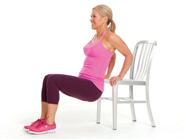 Week 1: Triceps Dip Targets: triceps, shoulders  Sit on chair, knees bent, hands grasping seat. Walk feet forward until butt is off the seat. Bend elbows, lowering hips. Press back up, straightening arms.