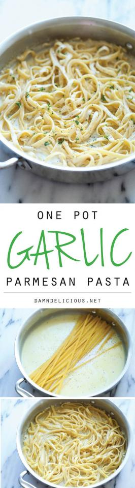 4 cloves Garlic, 2 tbsp Parsley, fresh leaves; 2 cups Chicken broth; 8 oz Fettuccine; 2 tbsp Butter, unsalted; 1 cup Milk, 1/4 cupParmesan cheese; 1 tbsp Olive oil; salt and black pepper