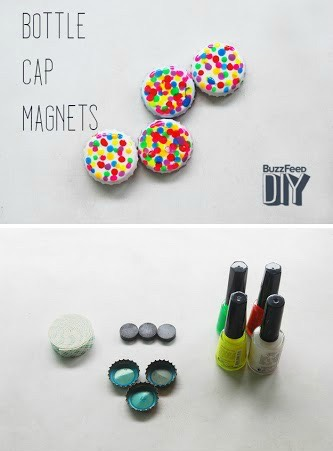 4 | DIY Bottle Cap Magnets  Add some serious color to your fridge with these DIY bottle cap magnets!