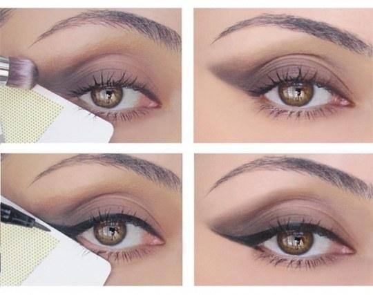 1. Stuck on how to get the perfect cat eye? Use a credit card to make a foolproof line.