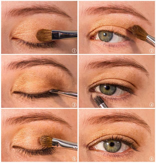 15. Not ready to fully commit to liner yet? Use your favorite shadow as a faux-liner so you can get used to a similar look. Use a liner brush to press a darker color right next to your lashes (Step 3 specifically)