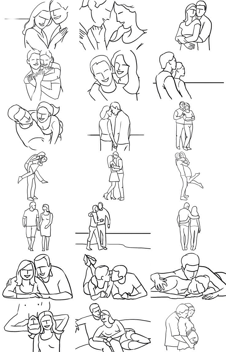 It is a photo of Lucrative Cute Couple Poses Drawing