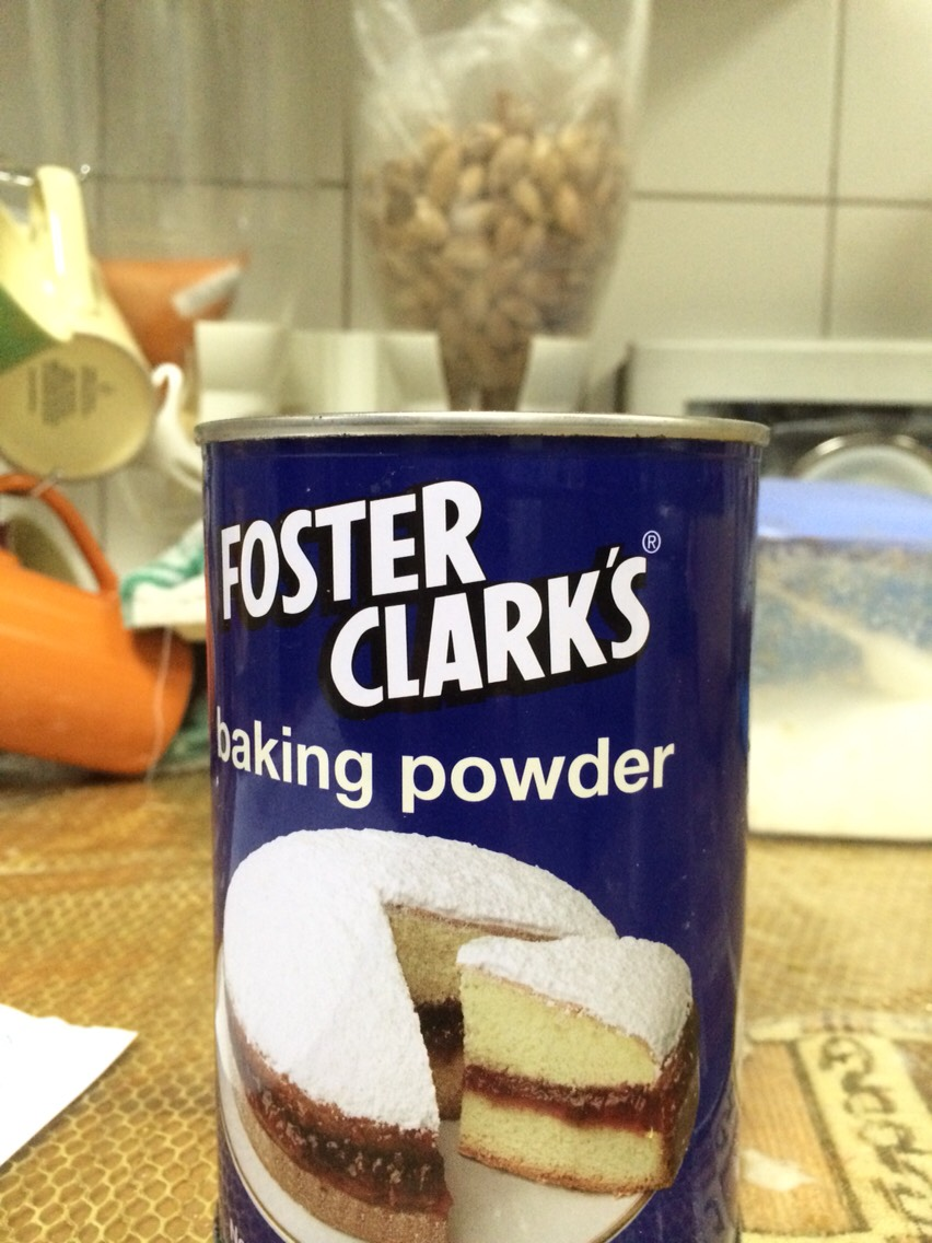 17. Add 1 teaspoon of baking powder on the flour