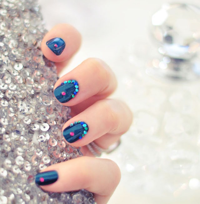 Bejeweled  I LOVE this pretty Bejeweled Teal Nails manicure. With a hint of Jasmine from the movie Aladdin, it is perfect for any party this holiday season. Use any colors to create your favorite look.
