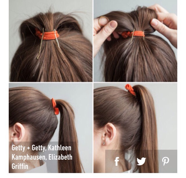 3. Place your bobby pins into your ponytail vertically for a gorgeous full-looking ponytail.