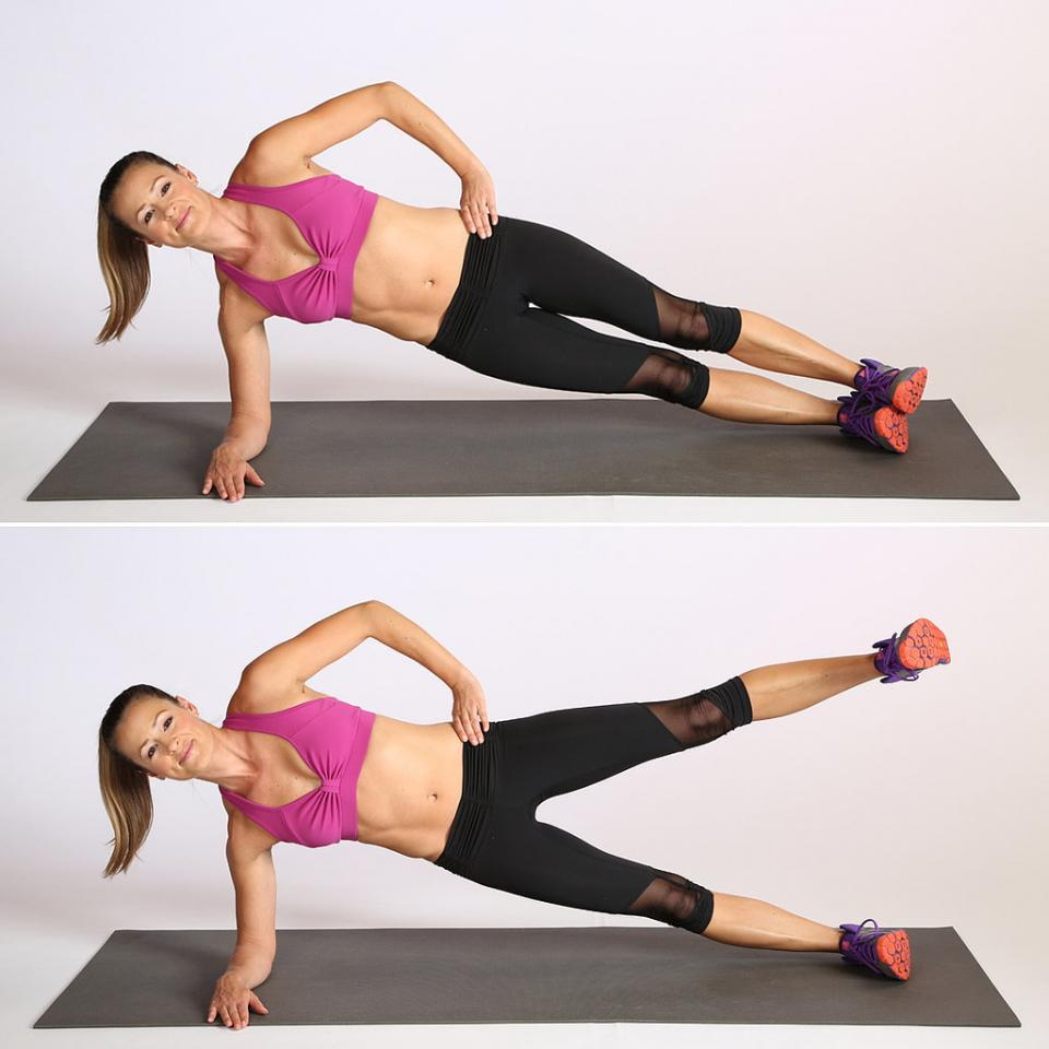 Circuit Three: Side Elbow Plank With Leg Lift: Do 10 reps, then switch sides.