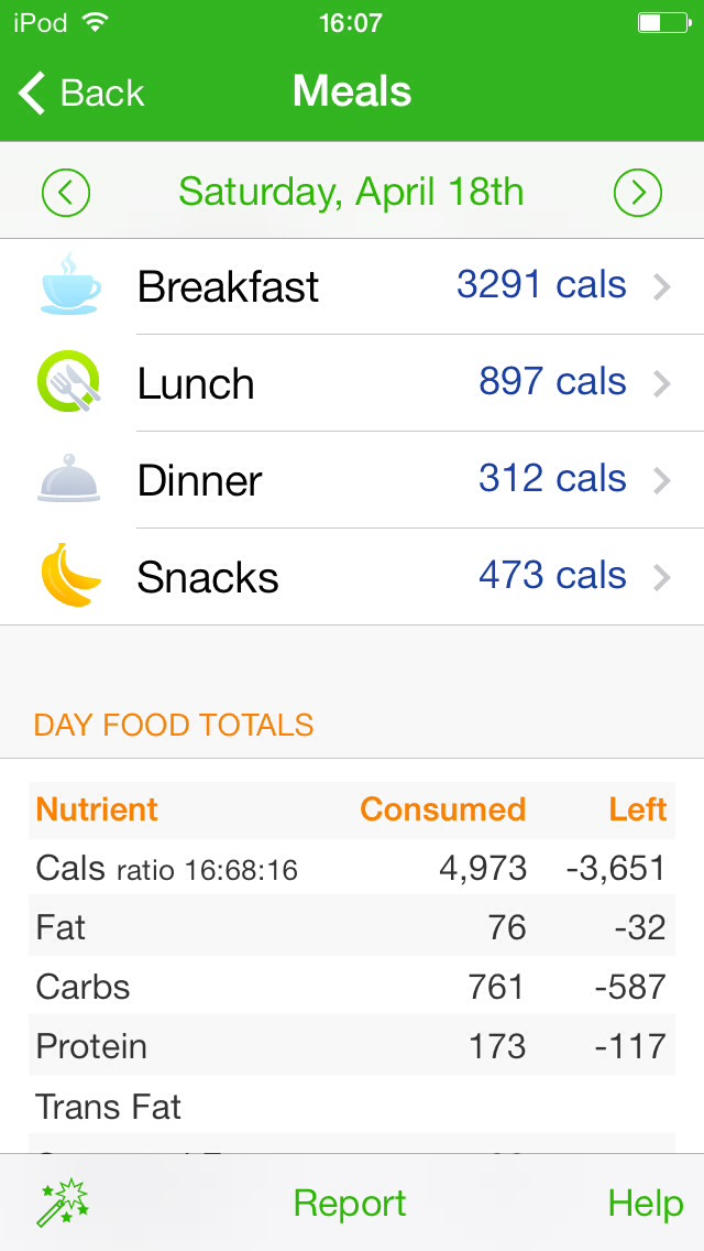 You can track the food you ate