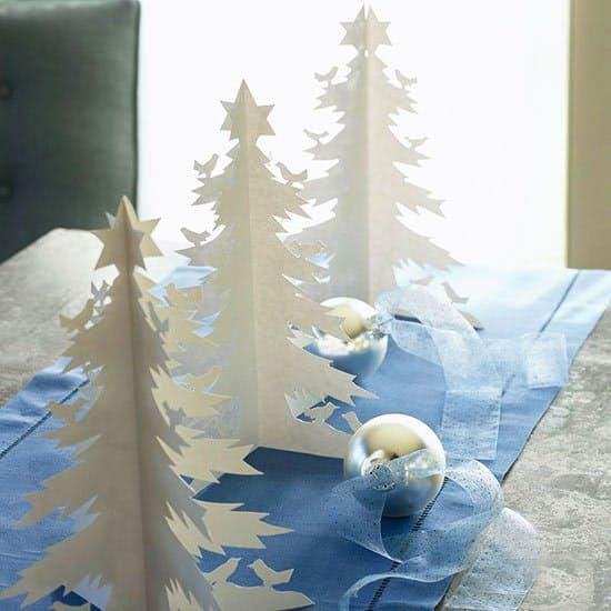 Or create a little 3-D paper magic with simple white card stock, like this tabletop forest featured inBetter Homes and Gardens.