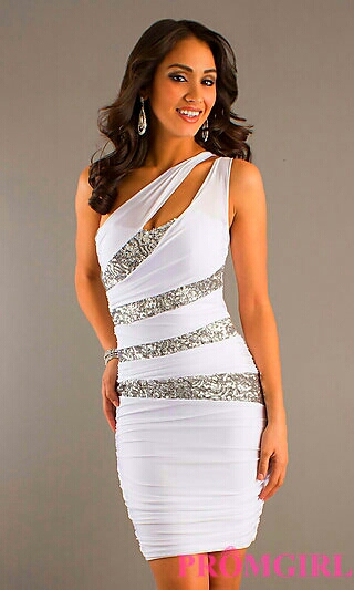 Ruched White Double Strap Dress w/ Silver Sequins