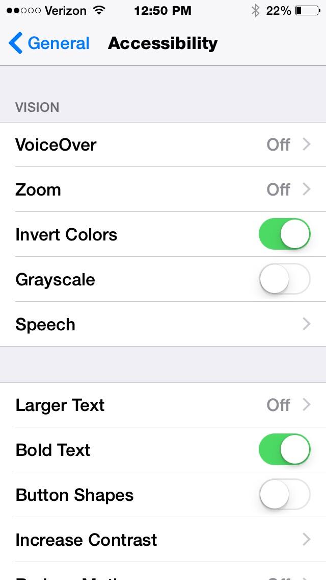 Turn on invert colors