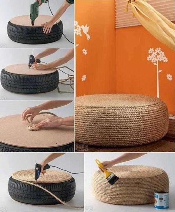 Upcycle an old tyre to make this beautiful ottoman. Place a cupboard on top of the tyre. With a hotglue gun star glueing a thick rope in circle. Fininsh with a layer wood furnish.