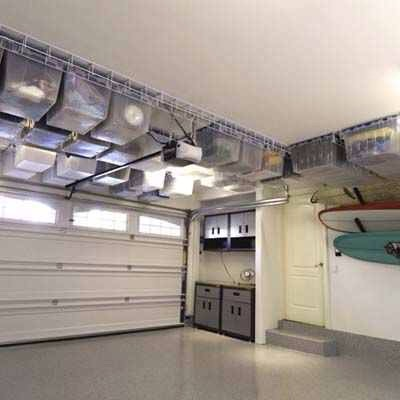 Use clear totes when organizing your garage to be able to easily find everything you need while still keeping your garage neat looking.  (pc: this old house)