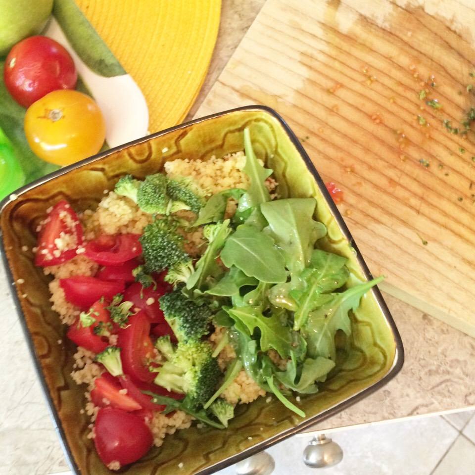 9- When the couscous is cooled down, add the veggies, the aragula, nuts (if you want).  10- Put the dressing on top and add salt, pepper, lemon juice and basil.
