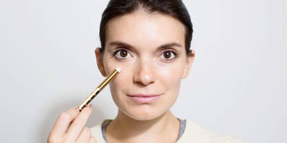 1. Use a peach-colored concealer under your eyes to look instantly more awake and illuminate your eyes.