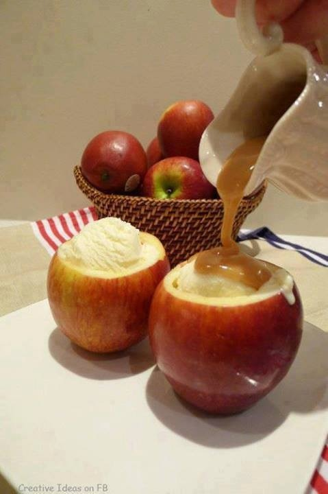 Cut the top off apples and hollow out with melon baller. Fill with scoop of ice cream and top with caramel. Great treat for kids and parties in the fall.