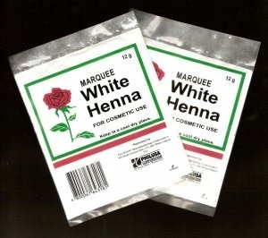 White Henna. Found in Pharmacies and Drugstores.