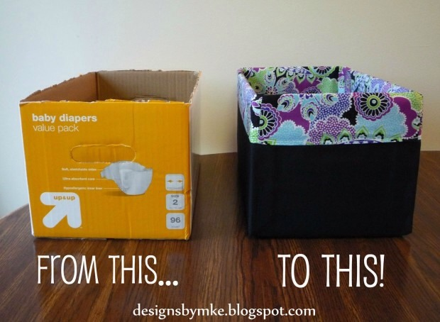 Take old boxes that you have I'n your home storing stuff either seen or not seen by people dress them up with some Left over fabric and a glue gun.