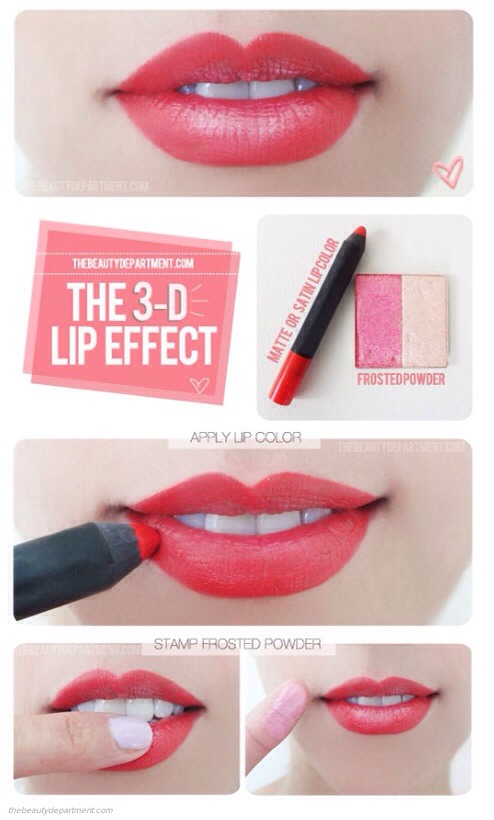 Use pale, frosted eyeshadow with lipstick for a 3D fuller lip effect.